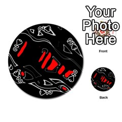 Black and red artistic abstraction Playing Cards 54 (Round)
