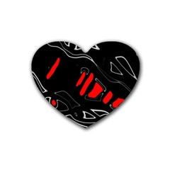 Black and red artistic abstraction Heart Coaster (4 pack)