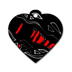 Black and red artistic abstraction Dog Tag Heart (One Side)