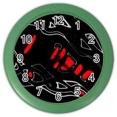 Black and red artistic abstraction Color Wall Clocks