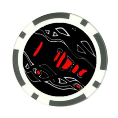 Black And Red Artistic Abstraction Poker Chip Card Guards