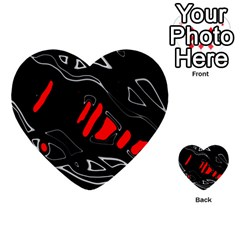 Black And Red Artistic Abstraction Multi Purpose Cards (heart)