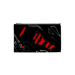 Black and red artistic abstraction Cosmetic Bag (Small)