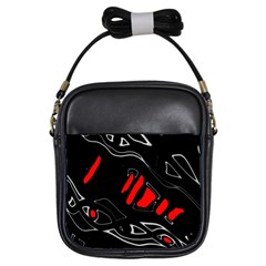 Black and red artistic abstraction Girls Sling Bags