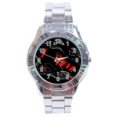 Black and red artistic abstraction Stainless Steel Analogue Watch
