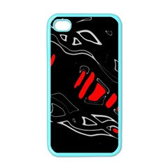 Black and red artistic abstraction Apple iPhone 4 Case (Color)