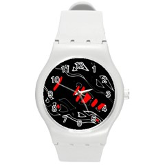 Black and red artistic abstraction Round Plastic Sport Watch (M)
