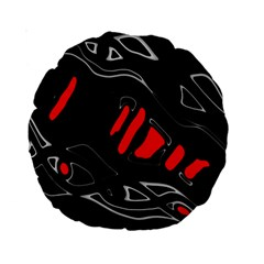 Black and red artistic abstraction Standard 15  Premium Round Cushions