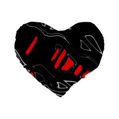 Black and red artistic abstraction Standard 16  Premium Heart Shape Cushions