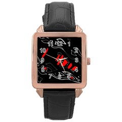 Black and red artistic abstraction Rose Gold Leather Watch