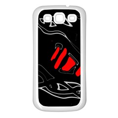 Black and red artistic abstraction Samsung Galaxy S3 Back Case (White)