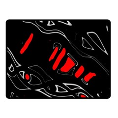 Black and red artistic abstraction Double Sided Fleece Blanket (Small)
