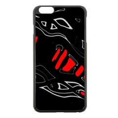 Black and red artistic abstraction Apple iPhone 6 Plus/6S Plus Black Enamel Case