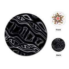 Black and white decorative design Playing Cards (Round)