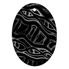 Black and white decorative design Oval Ornament (Two Sides)