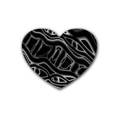 Black and white decorative design Heart Coaster (4 pack)