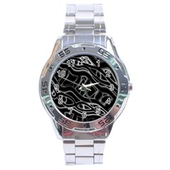 Black and white decorative design Stainless Steel Analogue Watch