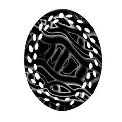Black and white decorative design Oval Filigree Ornament (2-Side)