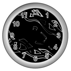 Black and white Wall Clocks (Silver)