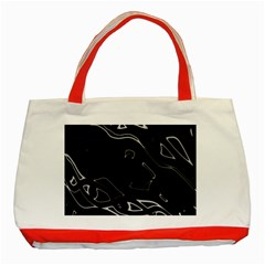 Black and white Classic Tote Bag (Red)