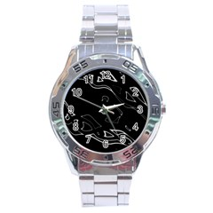 Black and white Stainless Steel Analogue Watch