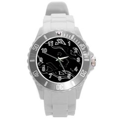 Black and white Round Plastic Sport Watch (L)