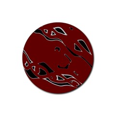 Decorative abstract art Rubber Coaster (Round)
