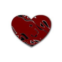 Decorative abstract art Rubber Coaster (Heart)