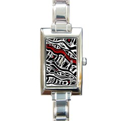 Red, black and white abstract art Rectangle Italian Charm Watch