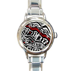 Red, black and white abstract art Round Italian Charm Watch