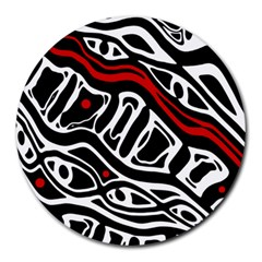 Red, black and white abstract art Round Mousepads