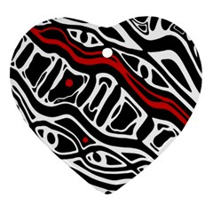 Red, black and white abstract art Ornament (Heart)