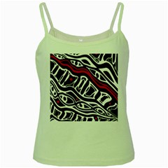 Red, black and white abstract art Green Spaghetti Tank