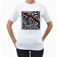 Red, black and white abstract art Women s T-Shirt (White) (Two Sided)