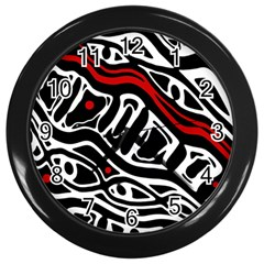 Red, black and white abstract art Wall Clocks (Black)