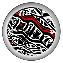 Red, black and white abstract art Wall Clocks (Silver)