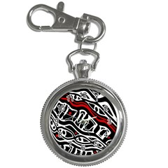 Red, black and white abstract art Key Chain Watches