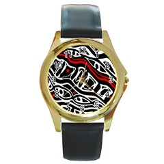 Red, black and white abstract art Round Gold Metal Watch