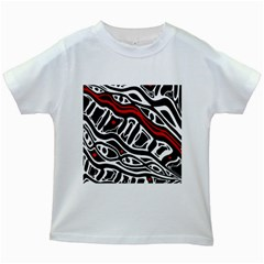 Red, black and white abstract art Kids White T-Shirts