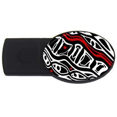 Red, black and white abstract art USB Flash Drive Oval (2 GB)