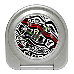 Red, black and white abstract art Travel Alarm Clocks