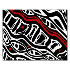 Red, black and white abstract art Rectangular Jigsaw Puzzl