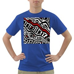Red, black and white abstract art Dark T-Shirt