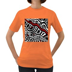 Red, black and white abstract art Women s Dark T-Shirt