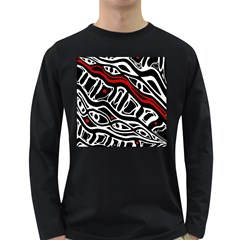 Red, black and white abstract art Long Sleeve Dark T-Shirts