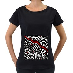 Red, black and white abstract art Women s Loose-Fit T-Shirt (Black)