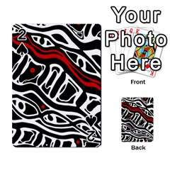 Red, black and white abstract art Playing Cards 54 Designs