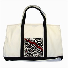 Red, black and white abstract art Two Tone Tote Bag