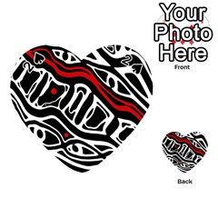Red, black and white abstract art Playing Cards 54 (Heart)