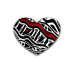 Red, black and white abstract art Rubber Coaster (Heart)